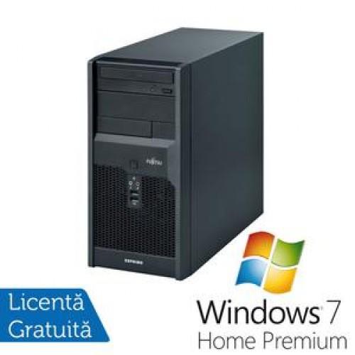 Calculator Fujitsu Siemens Esprimo p2540, Pentium Dual Core E2220, 2.4Ghz, 2Gb, 160Gb, DVD-RW + Win 7 Premium + 3 ani garantie