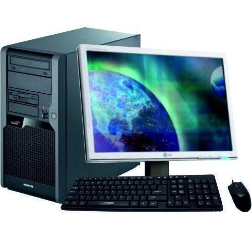 Pachet PC Fujitsu TX100S1, Intel Xeon X3110 3,0 GHz, 4Gb DDR2, 160Gb DVD-ROM cu Monitor LCD