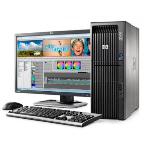 PACHET Statie Grafica HP Z600, Intel Xeon Quad Core E5620, 2.40Ghz, 8Mb Cache, 4Gb DDR3 ECC, 250Gb HDD, DVD cu Monitoar LCD