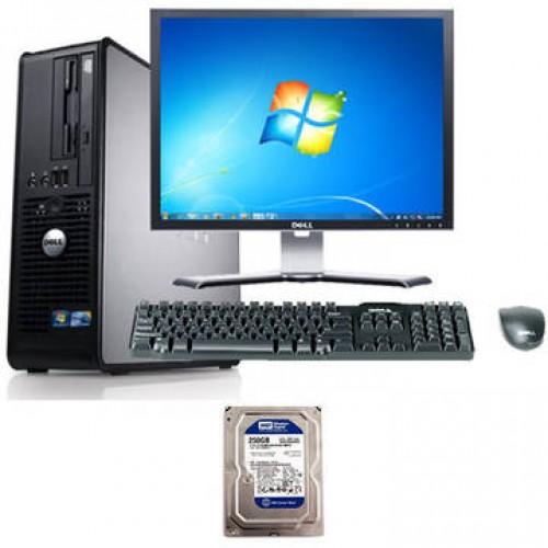 Sistem PC + Monitor LCD Dell Optiplex 760 Core 2 Duo E7300 2.66GHz 2GB DDR2 80GB HDD Sata Combo Desktop + Dell 177FP 17 inch Black