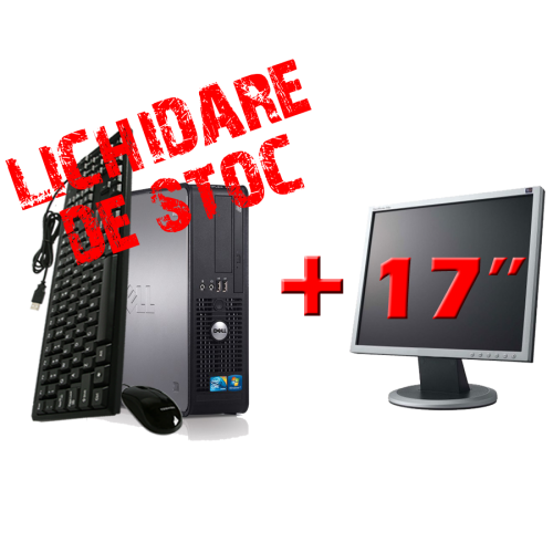 PC Calculator SH Dell Optiplex 780, Dual Core E5700 3.0Ghz, 2Gb DDR3, 250Gb, DVD-ROM cu Monitor 17 inch ***