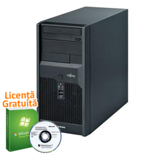 Windows 7 Premium + Unitate PC SH Fujitsu Siemens Esprimo p2540, Intel Core 2 Quad Q6600, 2.4Ghz, 4Gb DDR2, 160Gb, DVD-RW