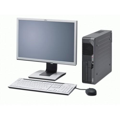 PC Second Hand Fujitsu E5730 Desktop, Core 2 Duo E7500, 2.93Ghz, 2Gb DDR2, 160Gb, DVD-RW cu Monitor LCD