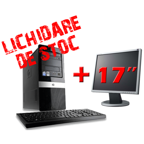 Pachet HP DX2420 Tower, Intel Pentium Dual Core E5200, 2.5Ghz, 2Gb DDR2, 200Gb HDD, DVD-ROM cu Monitor 17 inch ***
