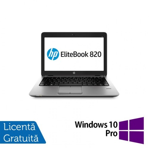 Laptop HP Elitebook 820 G2, Intel Core i5-5300U 2.30GHz, 8GB DDR3, 240GB SSD, Webcam, 12 Inch + Windows 10 Pro, Refurbished