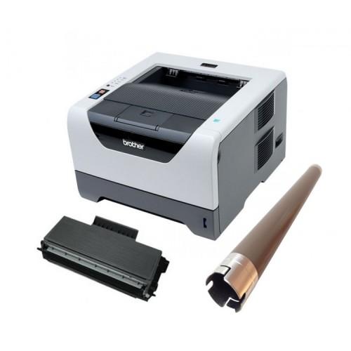 Imprimanta Laser Monocrom Brother HL-5350DN, Duplex, Retea, USB, 1200 x 1200 dpi, Cartus + Unitate Drum noi, Rola Fuser noua
