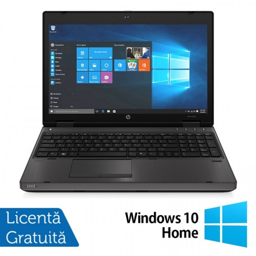 Laptop HP 6570b, Intel Core i3-2370M 2.40GHz, 4GB DDR3, 120GB SSD, DVD-RW, 15.6 Inch, Webcam, Tastatura numerica + Windows 10 Home, Refurbished