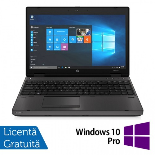 Laptop HP 6570b, Intel Core i3-2370M 2.40GHz, 4GB DDR3, 120GB SSD, DVD-RW, 15.6 Inch, Webcam, Tastatura numerica + Windows 10 Pro, Refurbished