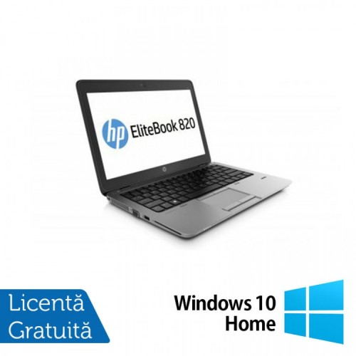 Laptop HP Elitebook 820 G2, Intel Core i5-5300U 2.30GHz, 8GB DDR3, 120GB SSD, Webcam, 12 Inch + Windows 10 Home, Refurbished