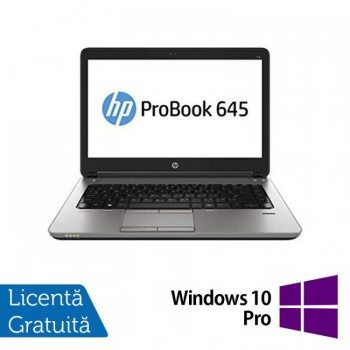 Laptop Refurbished HP ProBook 645 G1, AMD Quad-Core A10-5750M 2.5GHz , 8GB DDR3, 320GB SATA, 14 Inch + Windows 10 Pro