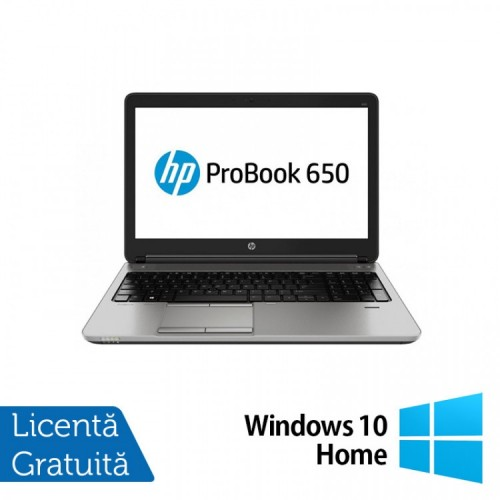 Laptop HP ProBook 650 G1, Intel Core i3-4000M 2.40GHz, 4GB DDR3, 500GB SATA, DVD-RW, 15.6 inch, Tastatura Numerica + Windows 10 Home, Refurbished