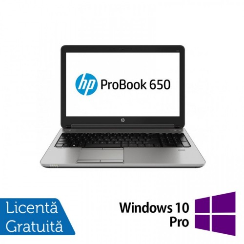 Laptop HP ProBook 650 G1, Intel Core i3-4000M 2.40GHz, 4GB DDR3, 500GB SATA, DVD-RW, 15.6 inch, Tastatura Numerica + Windows 10 Pro, Refurbished