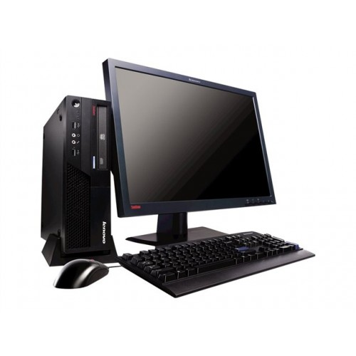 Pachet PC+LCD Lenovo Thinkcentre M58 Desktop, Intel Core2Duo E7400, 2.8Ghz, 2Gb DDR2, 250Gb HDD, DVD-RW