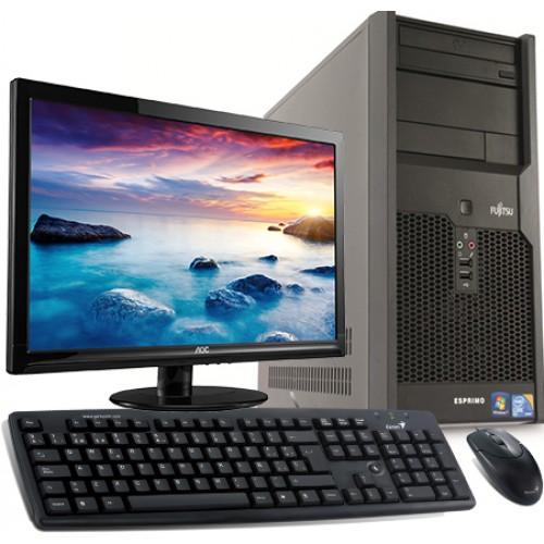 PC SH Fujitsu P3521, Intel Core 2 Duo E7400, 2.8Ghz, 2Gb DDR3, 160Gb SATA, DVD-ROM cu Monitor 15 inch LCD