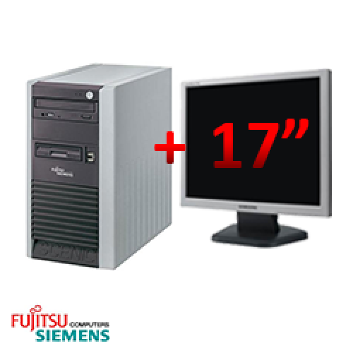 Pachet second hand Fujitsu Scenic P300, Tower, Pentium 4 2.8 GHz, 1GB DDR, 40GB HDD, CD-RW + Monitor LCD 17 inch ***