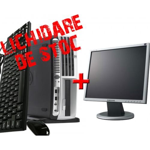 Pachet HP DC7600 USFF, Pentium D Dual Core 2.8 GHz, 1024 MB, 80 GB, DVD-ROM + Monitor LCD 17 inch ***