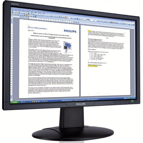 Monitor PHILIPS	200VW  LCD TFT, 20 inch, 5ms, 1680 x 1050 at 60 Hz