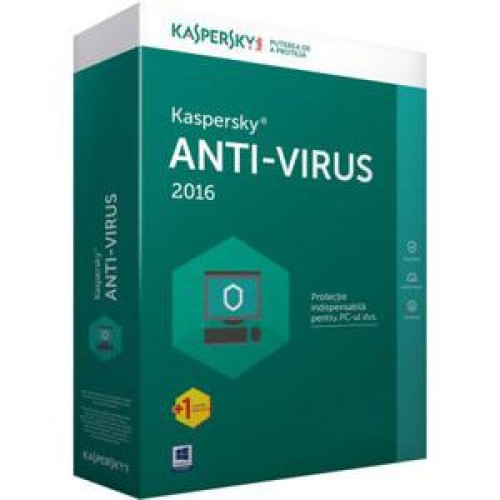 Licenta retail Kaspersky Anti-Virus 2016, 1 AN, 1 PC