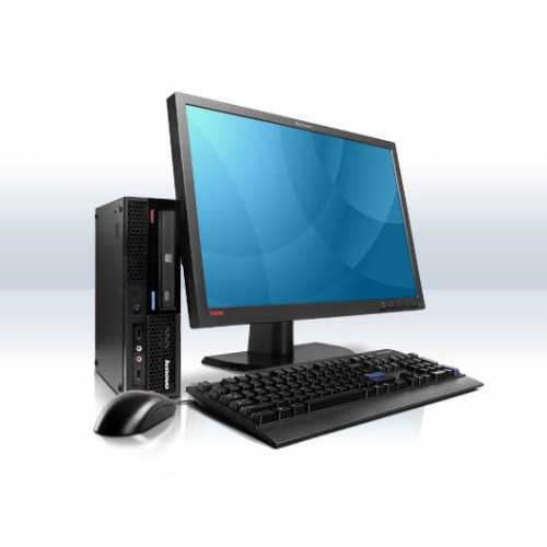 PACHET Lenovo Thinkcentre M58e (tip 7506) desktop, Intel Core 2 Duo E6750 2.66Ghz, 2Gb DDR2, 160Gb HDD, DVD-RW cu Monitor LCD