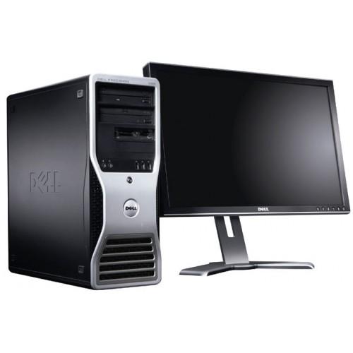 Pachet Workstation Dell Precision T3400, Intel Core 2 Quad Q6600, 2.4Ghz, 4GB DDR3, 250Gb, DVD cu monitor LCD